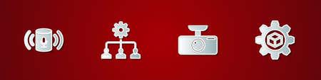 Set Voice assistant, Lead management, Car DVR and Product development icon. Vector