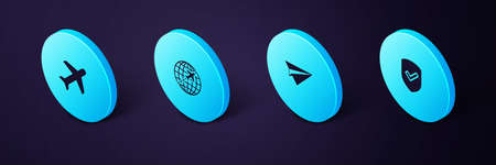 Set Isometric Shield with check mark, Paper plane, Globe flying and Plane icon. Vector