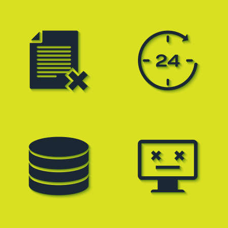 Set Delete file document, Dead monitor, Database and Clock 24 hours icon. Vector 矢量图像