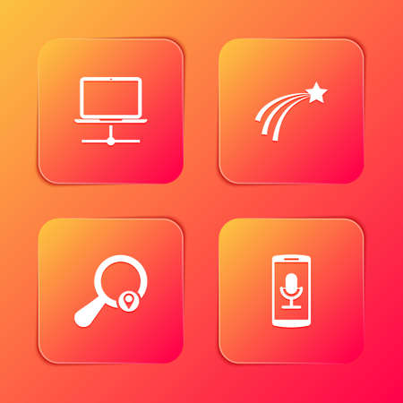Set Computer network, Falling star, Search location and Mobile recording icon. Vector
