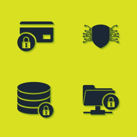 Set Credit card with lock, FTP folder and, Server security and Cyber icon. Vector