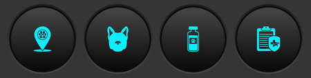 Set Location veterinary, Dog, Pets vial medical and Clinical record pet icon. Vector