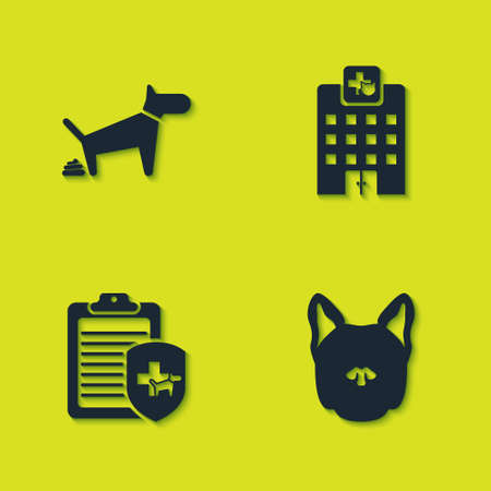 Set Dog pooping, , Clinical record pet and Veterinary medicine hospital icon. Vector Stock Illustratie