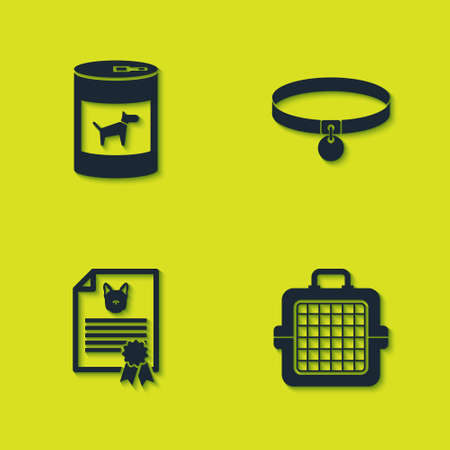 Set Canned food for dog, Pet carry case, Certificate cat and Collar icon. Vector