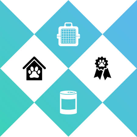 Set Dog house and paw print pet, Canned food, Pet carry case and award symbol icon. Vector