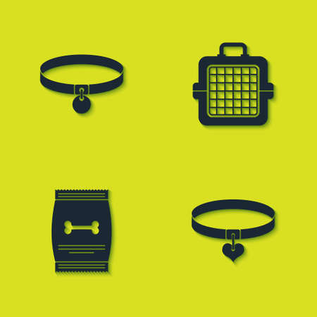 Set Collar, and heart, Bag of food for pet and Pet carry case icon. Vector