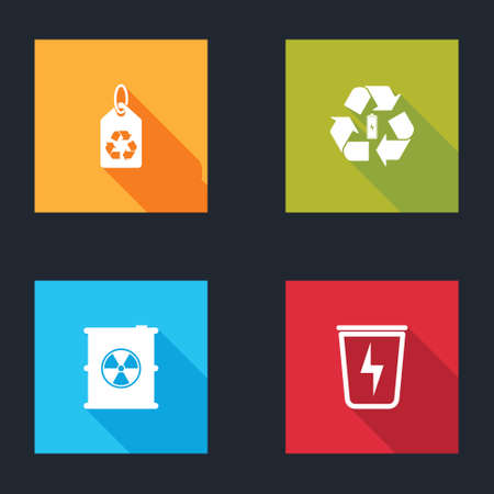 Set Tag with recycle, Battery, Radioactive waste in barrel and Lightning trash can icon. Vector