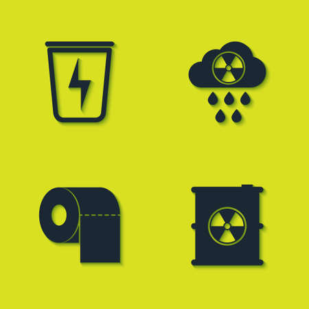Set Lightning with trash can, Radioactive waste barrel, Toilet paper roll and Acid rain and radioactive cloud icon. Vector Çizim