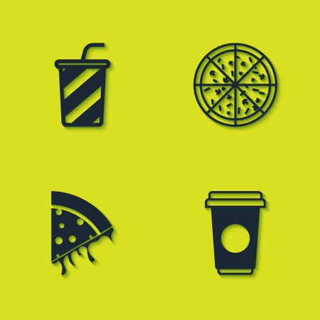 Set Glass with water, Coffee cup, Slice pizza and Pizza icon. Vector Иллюстрация