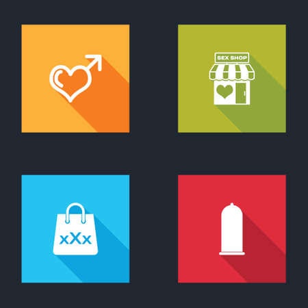 Set Male gender and heart, Sex shop building, Shopping bag with triple X and Condom safe icon. Vector