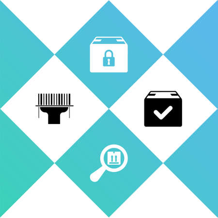 Set Scanner scanning bar code, Search package, Locked and Package box with check mark icon. Vector