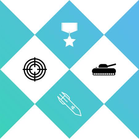 Set Target sport, Biohazard rocket, Military reward medal and tank icon. Vector
