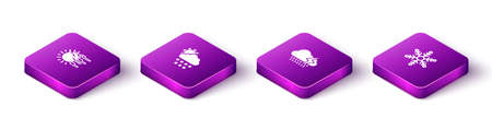 Set Isometric Fog and sun, Cloud with snow, rain lightning and Snowflake icon. Vector