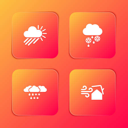 Set Cloudy with rain and sun, snow, and Tornado swirl icon. Vector 向量圖像