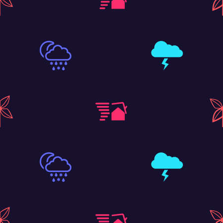 Set Storm, Cloud with snow, rain, moon, Tornado swirl and Pinwheel on seamless pattern. Vector
