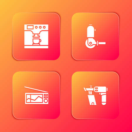 Set Coffee machine and cup, Angle grinder, Radio and Nail gun icon. Vector