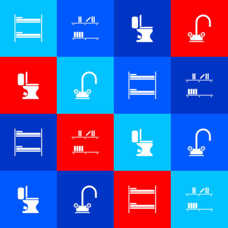 Set Bunk bed, Shelf with books, Toilet bowl and Water tap icon. Vector Çizim