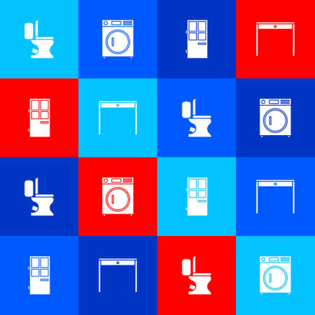Set Toilet bowl, Washer, Closed door and Wooden table icon. Vector