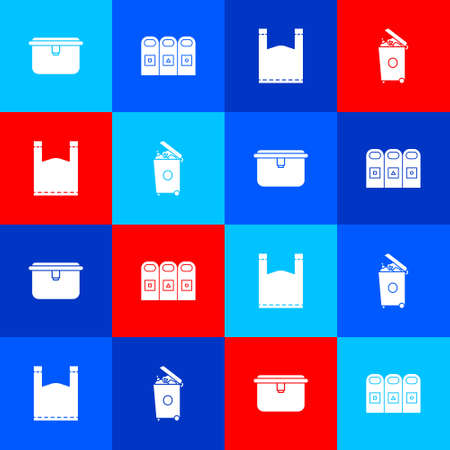 Set Lunch box, Trash in garbage cans sorted, Plastic and icon. Vector