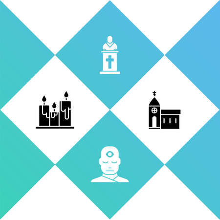 Set Burning candles, Man with third eye, Church pastor preaching and building icon. Vector