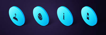 Set Isometric Priest, Burning candle, Easter egg and Tombstone with cross icon. Vector