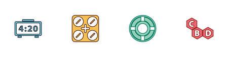 Set Digital alarm clock, Medical pills with marijuana, Ashtray and Cannabis molecule icon. Vector