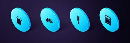 Set Isometric Kitchen dishwasher machine, Adhesive roller, Washing hands with soap and Bucket icon. Vector Ilustracja