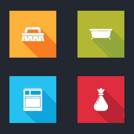 Set Brush for cleaning, Bathtub, Kitchen dishwasher machine and Garbage bag icon. Vector Çizim