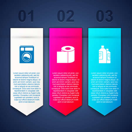 Set Washer, Toilet paper roll and Bottles for cleaning agent. Business infographic template. Vector