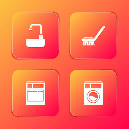 Set Washbasin with water tap, Brush for cleaning, Kitchen dishwasher machine and Washer icon. Vector