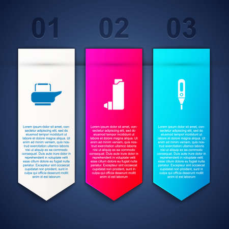 Set Bedpan, Inhaler and Medical digital thermometer. Business infographic template. Vector