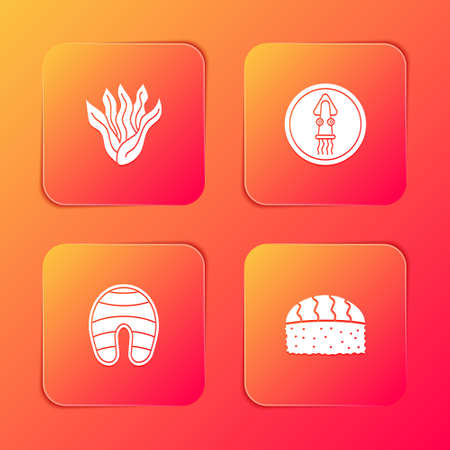Set Seaweed, Octopus on plate, Fish steak and Sushi icon. Vector Çizim