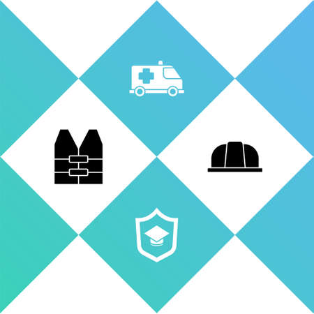 Set Life jacket, Graduation cap with shield, Emergency car and Worker safety helmet icon. Vector Çizim