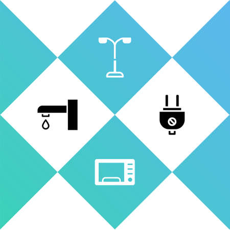 Set Water tap, Microwave oven, Street light and Electric plug icon. Vector Illustration