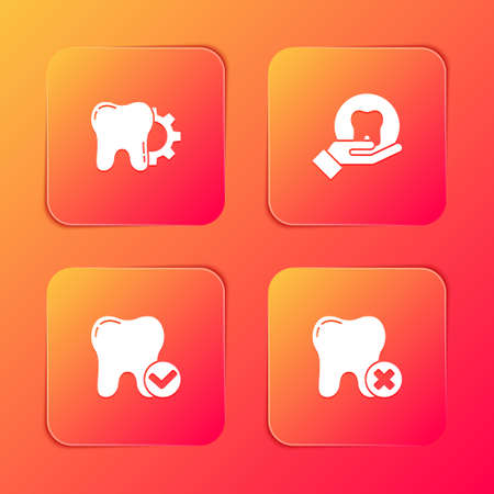 Set Tooth treatment procedure, , whitening concept and with caries icon. Vector