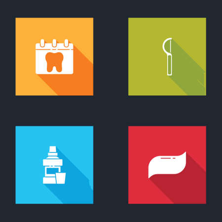 Set Calendar with tooth, Dental floss, Mouthwash bottle and Toothpaste icon. Vector