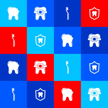 Set Broken tooth, Teeth with braces, Toothbrush and Dental protection icon. Vector