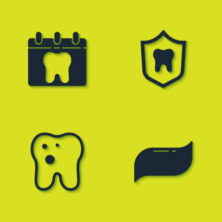 Set Calendar with tooth, Toothpaste, caries and Dental protection icon. Vector