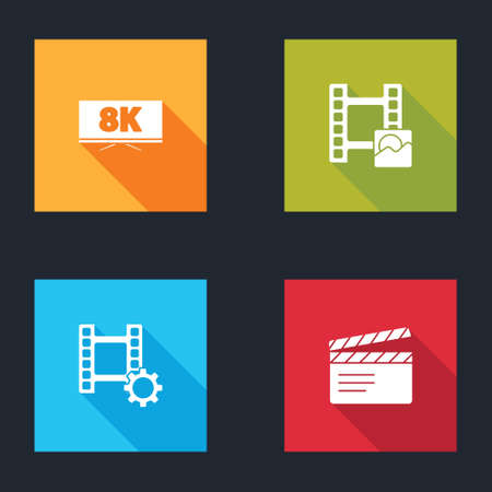 Set Screen tv with 8k, Play Video, and Movie clapper icon. Vector
