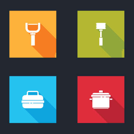Set Peeler, Kitchen hammer, Cooking pot and icon. Vector Çizim