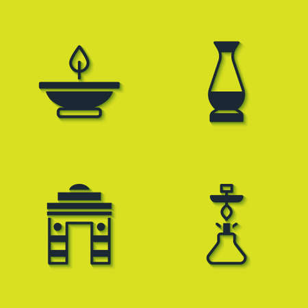Set Aroma lamp, Hookah, India Gate in Delhi and Indian vase icon. Vector