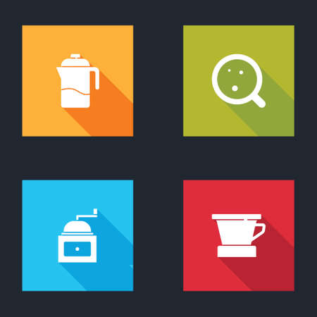 Set French press, Coffee cup, Manual coffee grinder and V60 maker icon. Vector Çizim