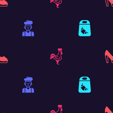 Set Croissant package, French man, rooster and Woman shoe on seamless pattern. Vector  イラスト・ベクター素材