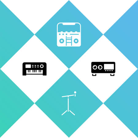 Set Music synthesizer, Microphone with stand, Home stereo speakers and Guitar amplifier icon. Vector