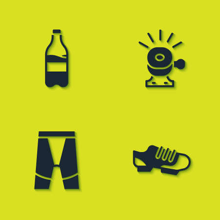 Set Sport bottle with water, Bicycle shoes, Cycling shorts and bell icon. Vector
