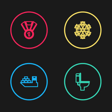 Set line Cargo ship, Toilet bowl, Snowflake and Medal icon. Vector