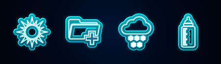 Set line Sun, Add new folder, Cloud with snow and Baby bottle. Glowing neon icon. Vector