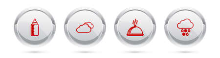 Set line Baby bottle, Cloud, Covered with tray of food and snow and rain. Silver circle button. Vector