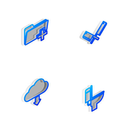 Set Isometric line Crossed meat chopper, Add new folder, Cloud download and Toilet bowl icon. Vector