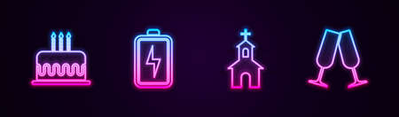 Set line Cake with burning candles, Battery, Church building and Glasses of champagne. Glowing neon icon. Vector Çizim